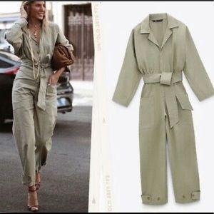 NEW Zara Khaki Army Long V-Neck Belted Jumpsuit M